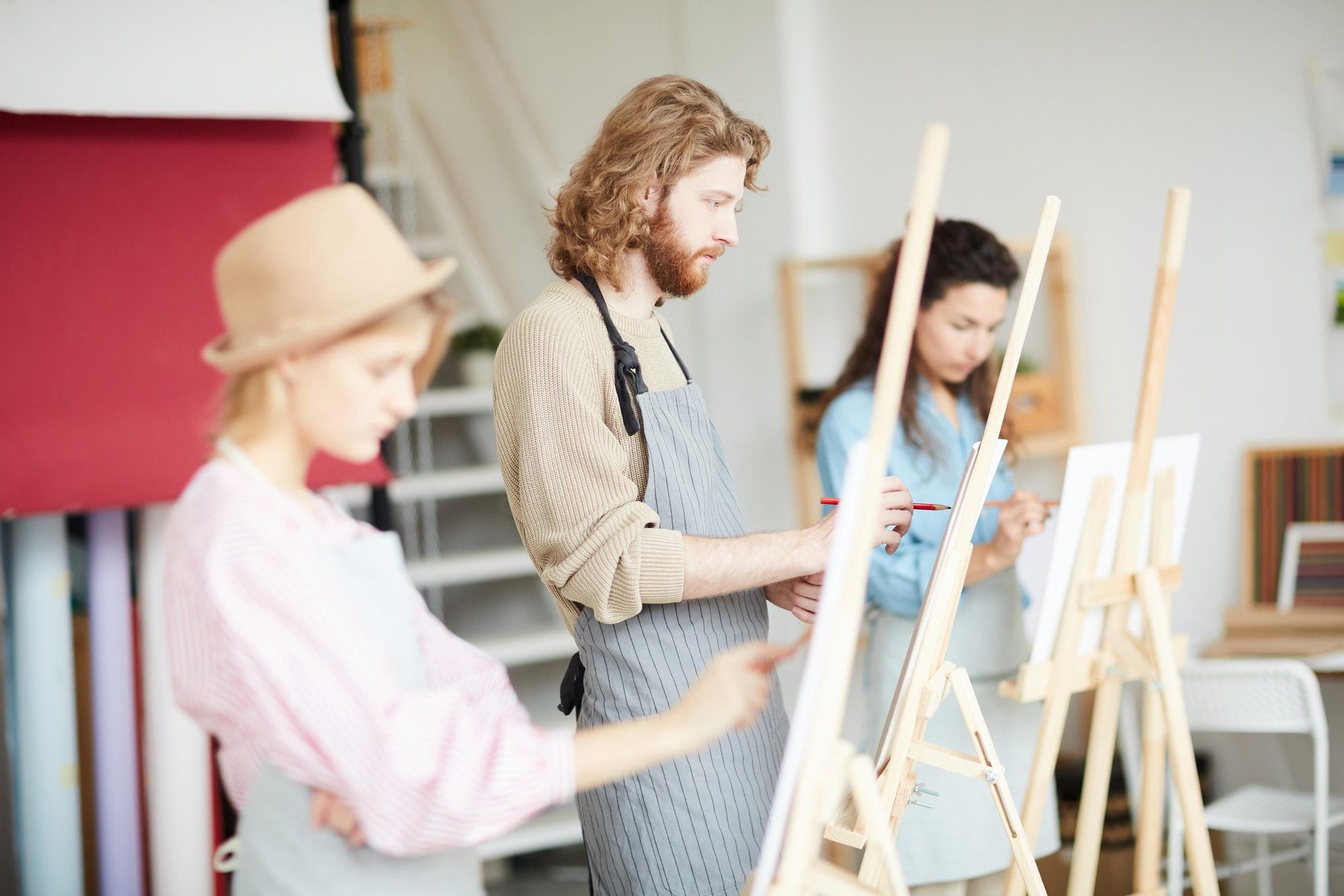 Painting in studio of arts